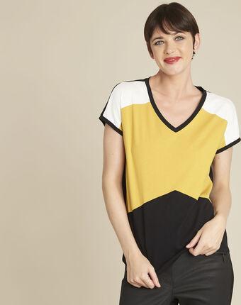 Tee-shirt jaune colorblock garvine ocre.