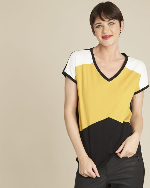 Tee-shirt jaune colorblock Garvine (1) - 1-2-3