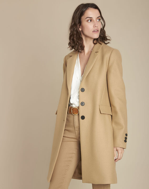 Manteau beige en laine mélangée Plume PhotoZ | 1-2-3
