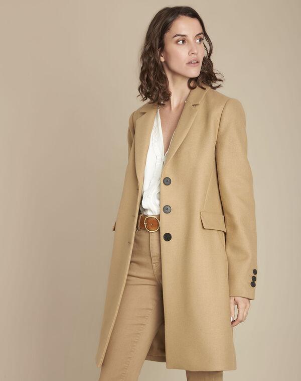 Manteau beige en laine mélangée Plume (1) - 1-2-3