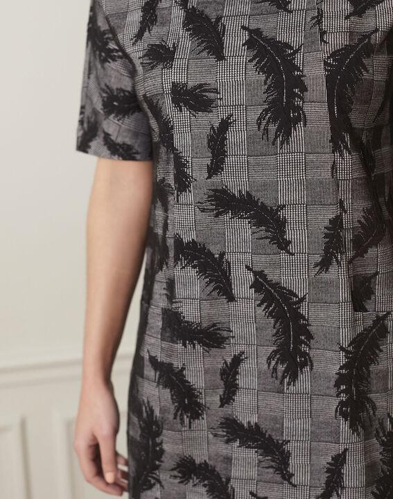 Destiny grey dress with feather print (3) - Maison 123