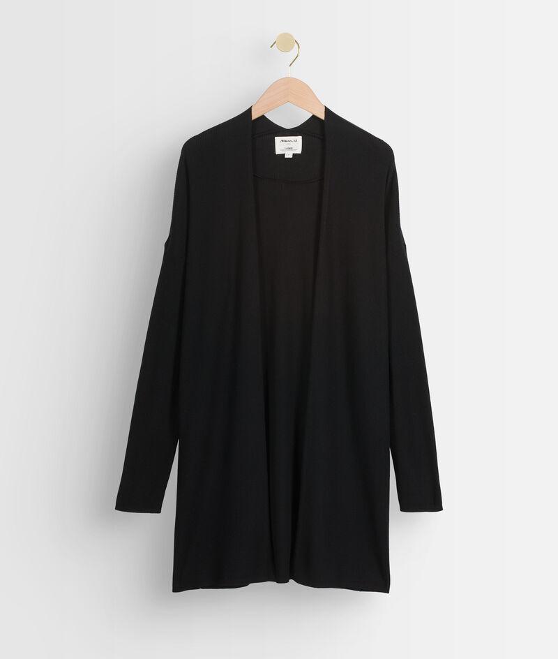 Gilet long en laine fine recyclée noire Tiago PhotoZ   1-2-3