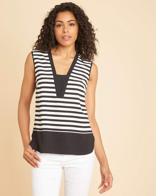 Grue V-neck black striped top (2) - 1-2-3