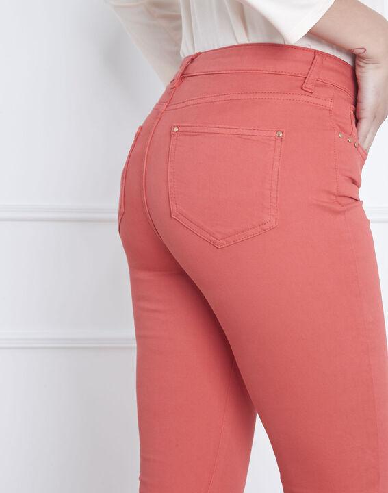 Korallenrote 7/8-Jeans Slim Fit Baumwollsatin Vendome (4) - Maison 123