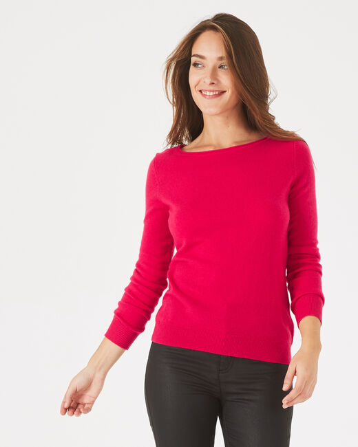 Petunia dark fuchsia, cashmere sweater with round neck (1) - 1-2-3