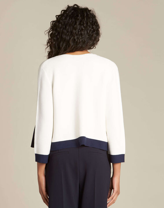 Narcisse white ottoman cardigan with contrasting trim (4) - 1-2-3