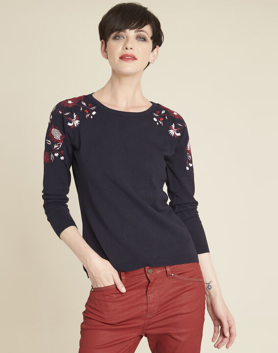 Broderie navy blue sweater with floral embroidery on the shoulders (1) - 1-  ... 9ed5d05c7758a