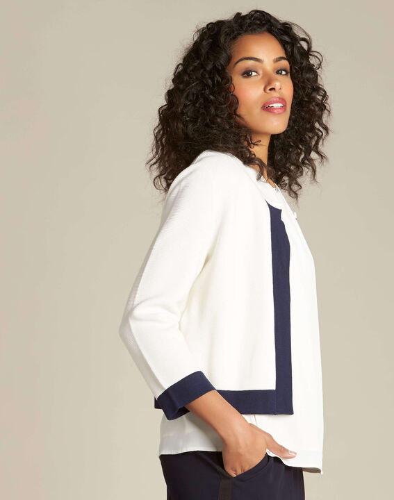 Narcisse white ottoman cardigan with contrasting trim (3) - 1-2-3