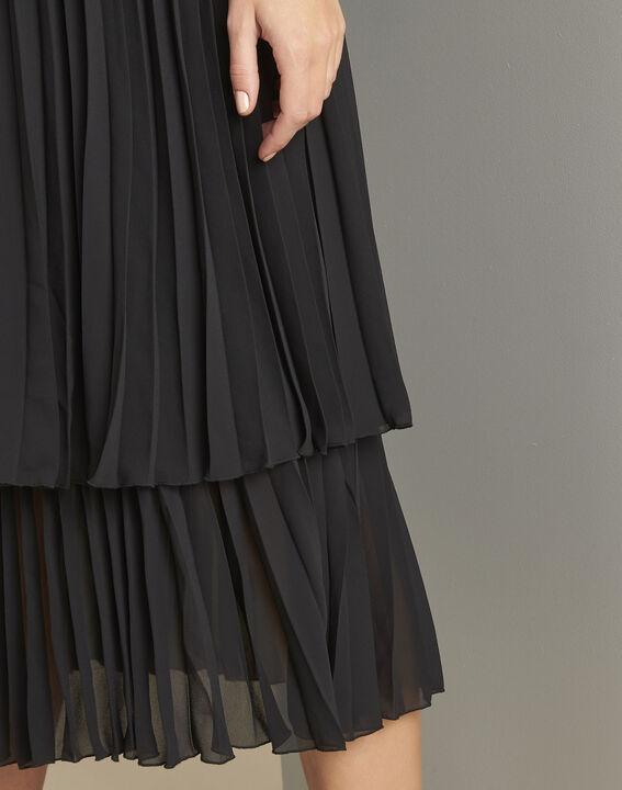 Langes plissiertes schwarzes Kleid Nice (5) - 1-2-3