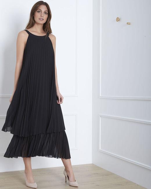 Robe noire plissée longue Nice (2) - 1-2-3