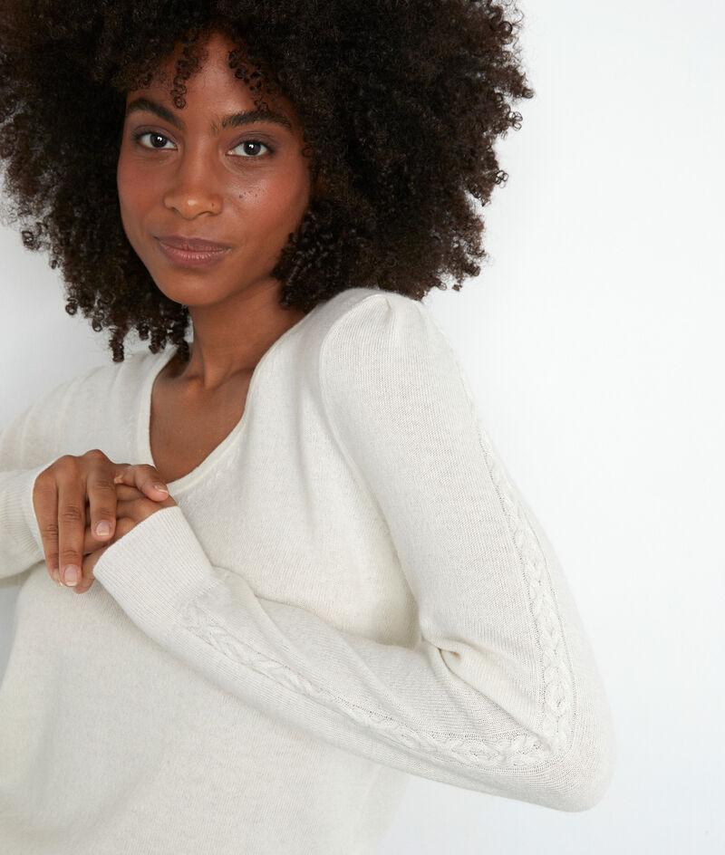 Pull en laine recyclée et cachemire écru Tilda PhotoZ | 1-2-3