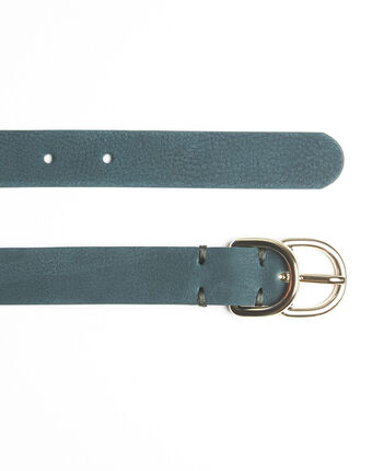Quorentin emerald leather double buckle belt emerald.