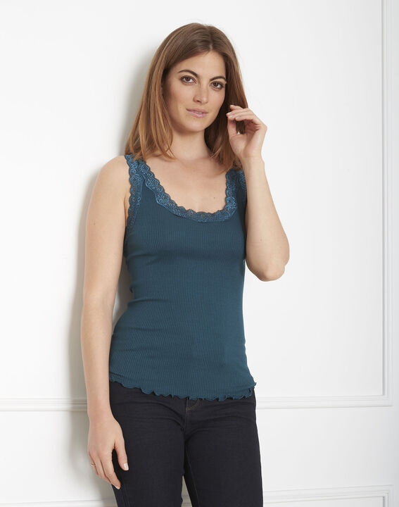 Guest green vest top in cotton and silk with lace neckline (2) - Maison 123