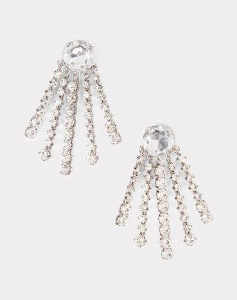 Boucles d'oreilles à clips argentées en laiton et verre ielena argent.