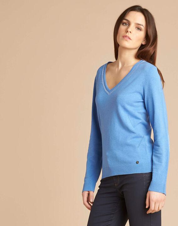 Blauer Pullover mit glänzendem Ausschnitt aus Wolle und Seide Newyork (3) - 1-2-3