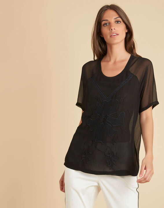 Galega black embroidered blouse in tulle (3) - 1-2-3