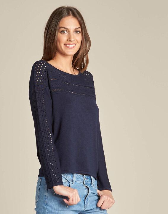 Nefle navy blue sweater with openwork neckline (2) - 1-2-3