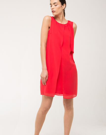 Fanny orange dress in silk with bow on the shoulder PhotoZ | 1-2-3