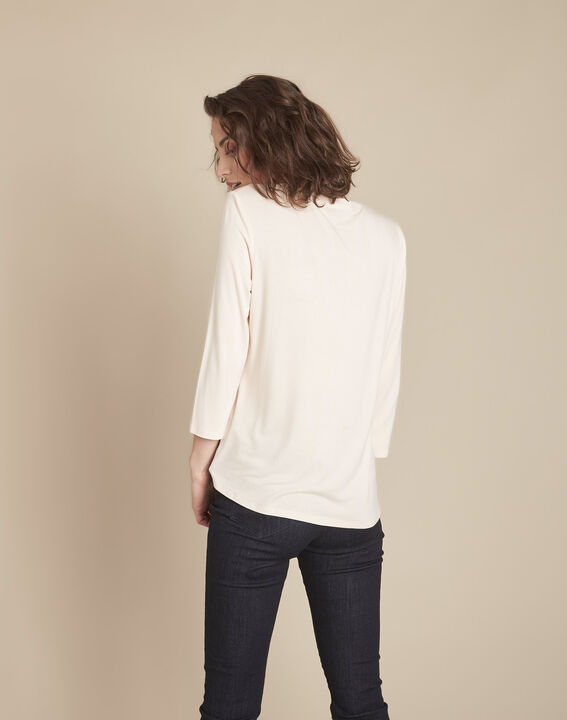 Nude T-shirt uit twee materialen met Tunesische kraag Genna (4) - 37653