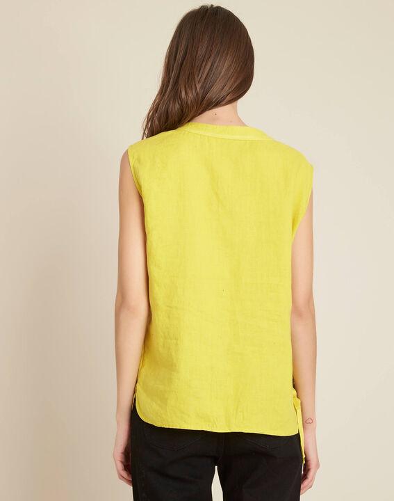 Gelbes Leinen-T-Shirt mit Schnüren Gally (4) - 1-2-3