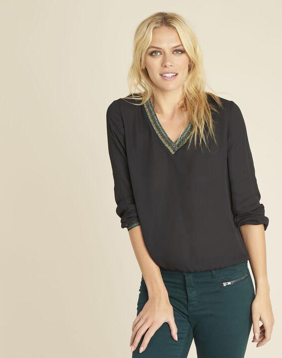 Carla black blouse with decorative V-neckline PhotoZ | 1-2-3