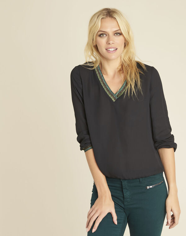 Carla black blouse with decorative V-neckline (2) - 1-2-3