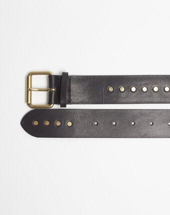 Rock wide black leather studded belt black.