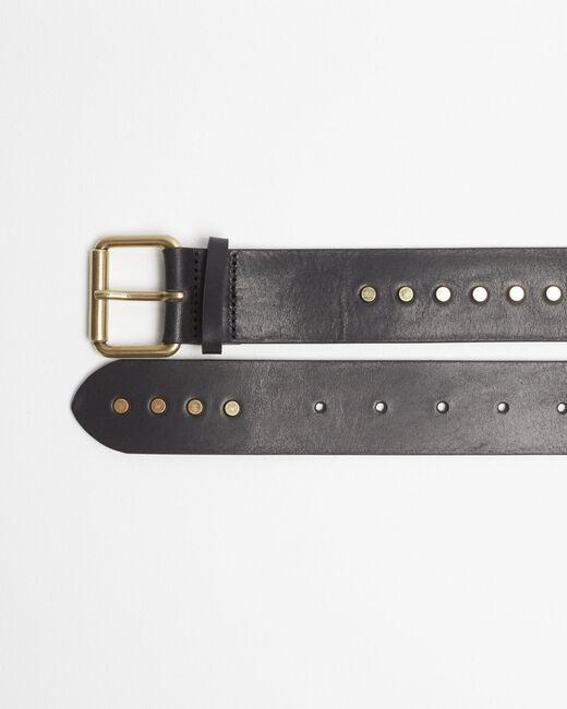 Breiter schwarzer Ledergürtel mit Nieten Rock (2) - 1-2-3