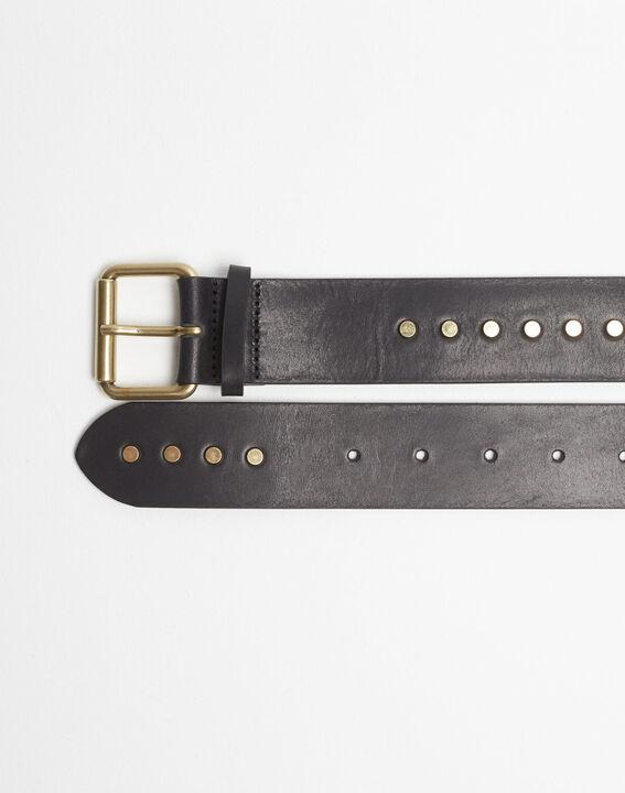 Rock wide black leather studded belt PhotoZ | 1-2-3