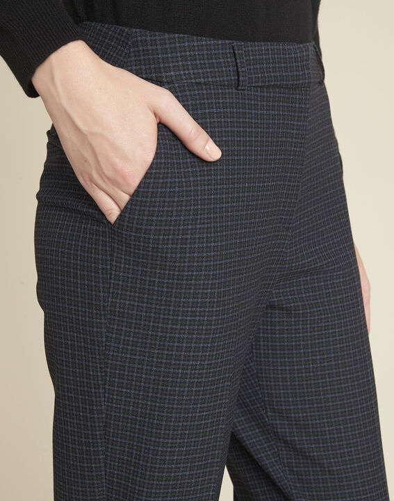 Haddock navy checked cigarette-cut trousers  (3) - 1-2-3