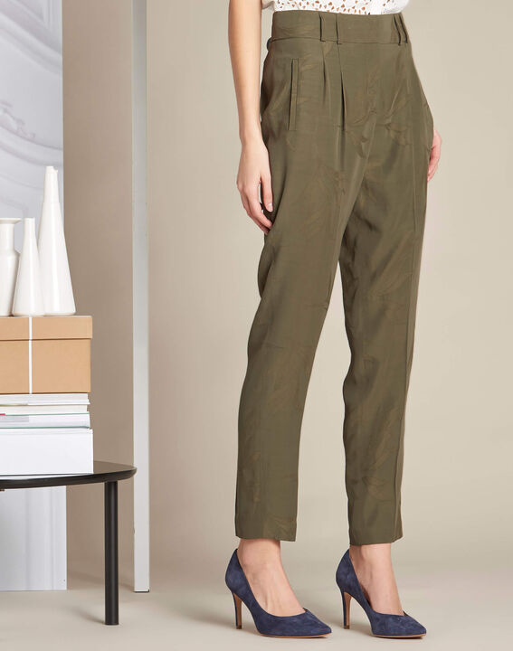 Vada khaki trousers with jacquard palm print (3) - 1-2-3