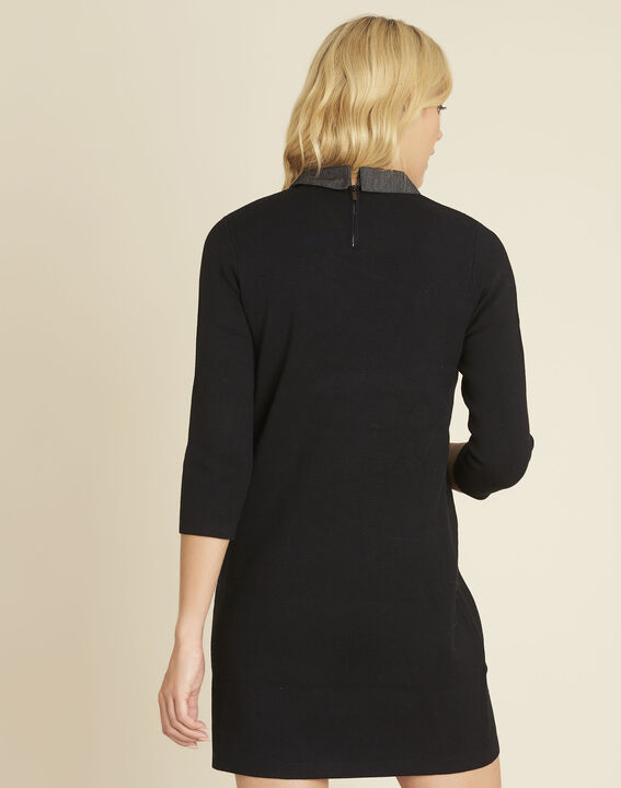 Barbara black knitted dress with decorative collar (4) - 1-2-3