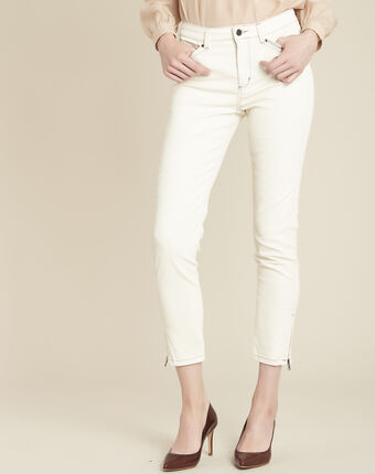 Opera cream 7/8 length coated jeans cream.