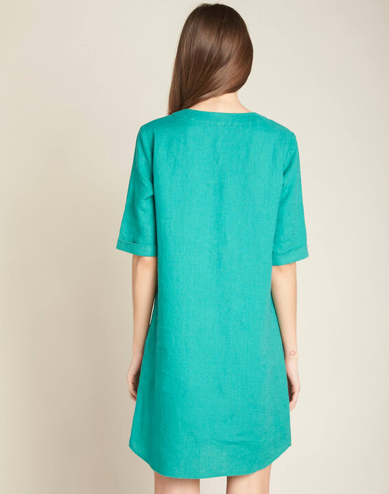 Pavot blue linen dress (4) - 1-2-3