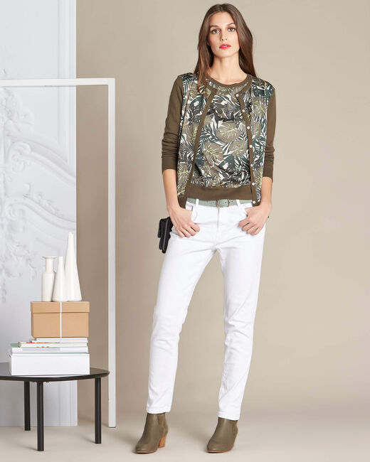 Nature dual-fabric khaki cardigan with leaf print (1) - 1-2-3