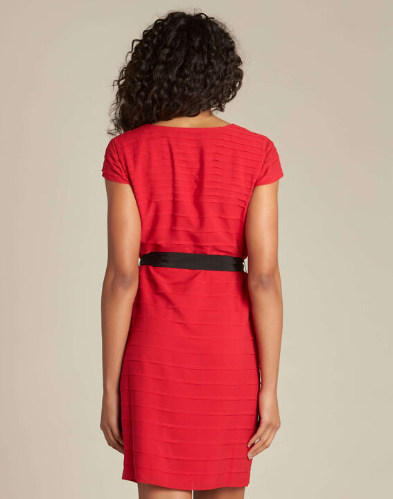 Idylle red dress in grosgrain with frilled detailing (4) - 1-2-3