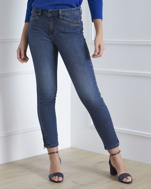 Opera standard-cut indigo jeans with zips at the waist (1) - 1-2-3