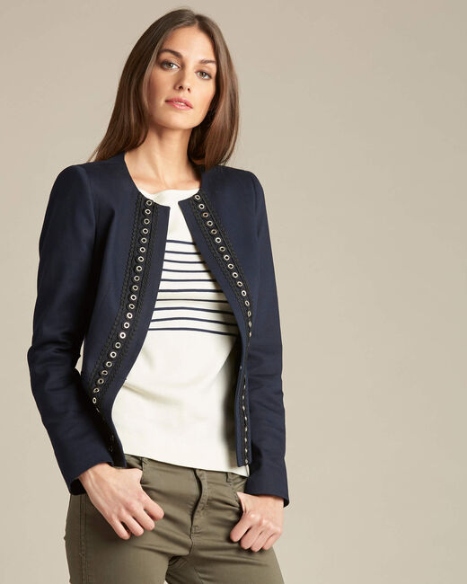 Cerise short navy jacket with guipure and eyelet detailing (2) - 1-2-3