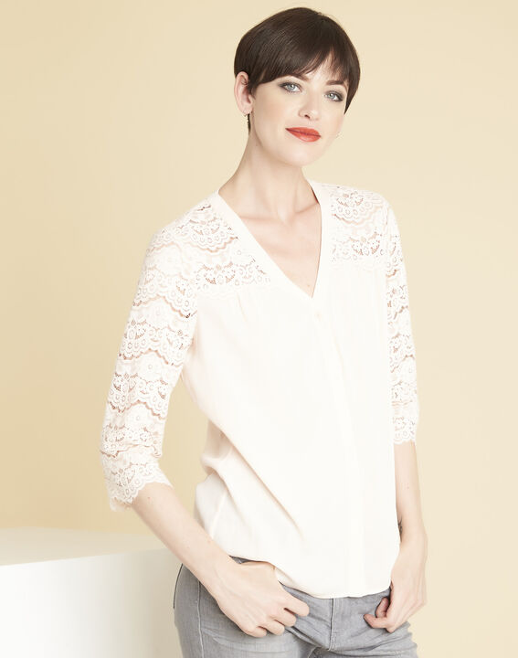 Colette nude blouse in lace (1) - Maison 123