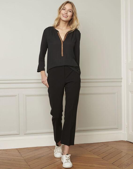 Zwarte blouse met Tunesische kraag van lurex Vassilia (2) - Maison 123
