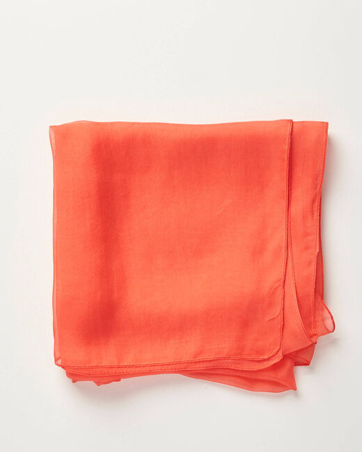 Foulard en soie corail roi uni Alice (1) - 1-2-3