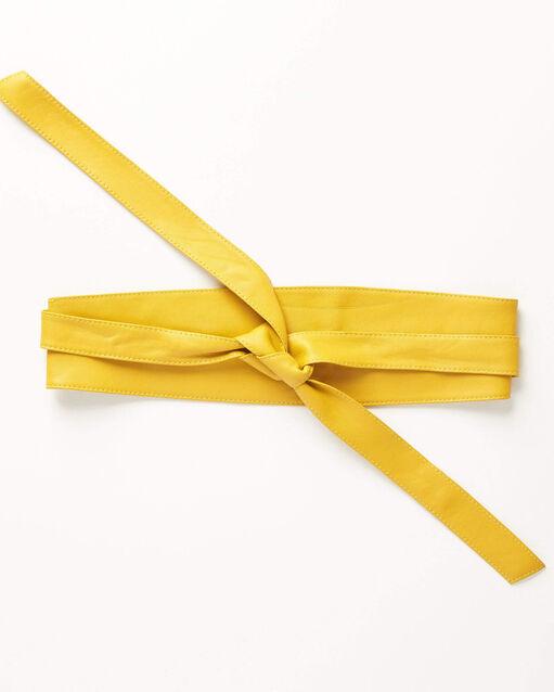 Ceinture large jaune en cuir à nouer Raul (2) - 1-2-3