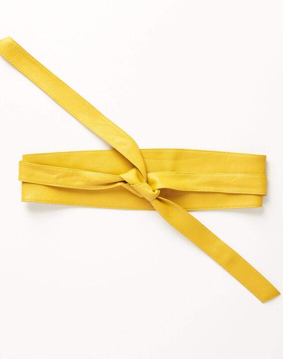 Ceinture large jaune en cuir à nouer Raul (1) - Maison 123