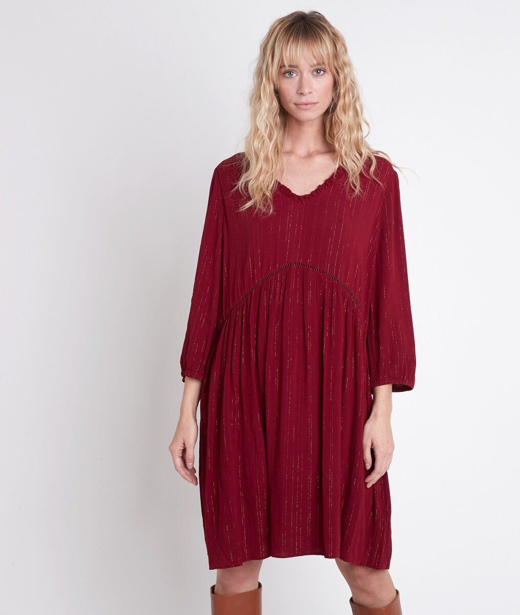 Robe rouge trapèze en lurex Larissa PhotoZ | 1-2-3