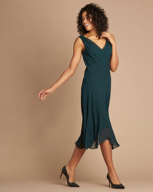 Foret forest green silk swirly midi dress (2) - 1-2-3