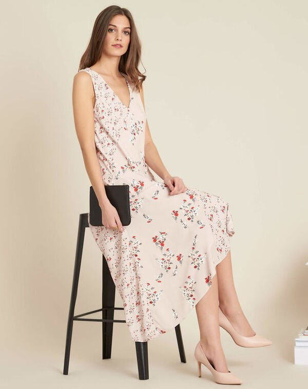 Impatiens nude floral mid-length dress (2) - 1-2-3