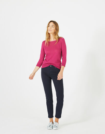 Pia 7/8 length navy blue satin trousers (1) - 1-2-3