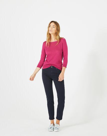 Pia 7/8 length navy blue satin trousers PhotoZ | 1-2-3
