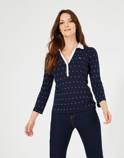 Tee-shirt bleu marine imprimé col contrasté Bowling ter (3) - 1-2-3