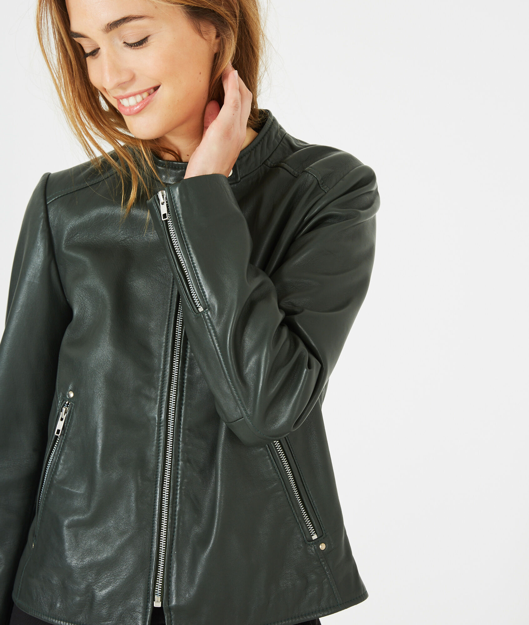 Hugo forest green leather jacket - 123